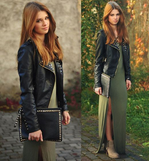Studded leather jacket, green maxi dress and boots. I'm dying. Love this so much.