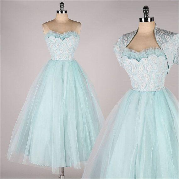 vintage 1950s dress . powder blue tulle . by millstreetvintage