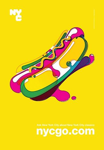 NYCGO, Poster Design, Exhibition, Hot Dog, Food, Bright Colourful,  Design, Illustration, Vector, Goo-ey, Liquidly, Surreal, Yellow/Pink/Green