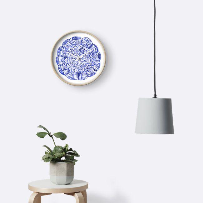 """Blue indian mandala"" Clocks by russiangirl   Redbubble"