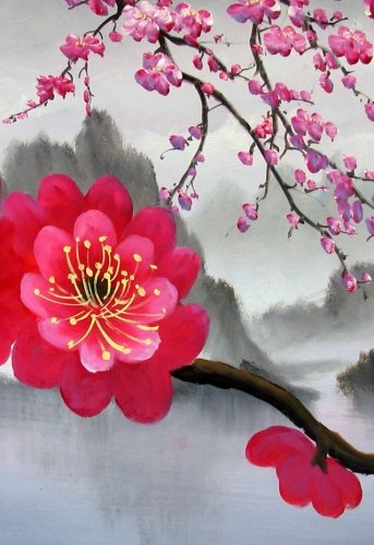 Amazon.com: Japanese Cherry Blossom Painting Feng Shui Painting Flower Painting 42: Home & Kitchen