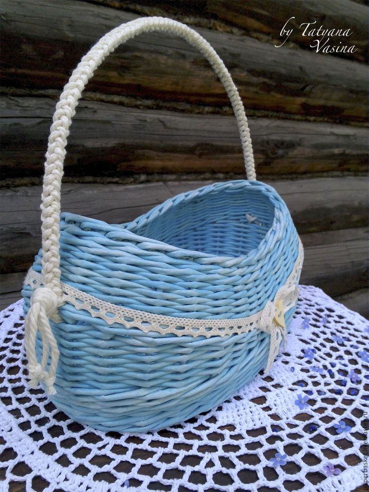 """Купить Плетеная корзиночка """"Незабудковый май"""" - голубой, плетеный, плетеная корзина, корзина корзиночка, для дома"""