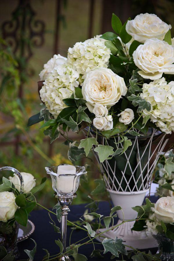 Ivy hydrangea rose white wedding centerpiece