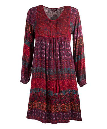 This Wine Arabesque Tassel-Tie Empire Waist Dress is perfect! #zulilyfinds