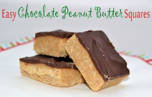 Easy and Delicious No-Bake Chocolate Peanut Butter Squares! Perfect Quick Christmas Treat!
