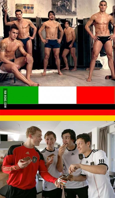 Italian Football Team: Un-dressed by Dolce e Gabbana VS. German Football Team: sponsored by Nutella (Italy)_