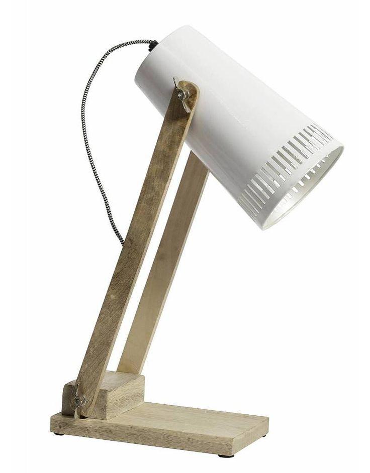 Nordal bureaulamp met houten voet, wit