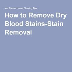 1000 ideas about Remove Blood Stains on Pinterest