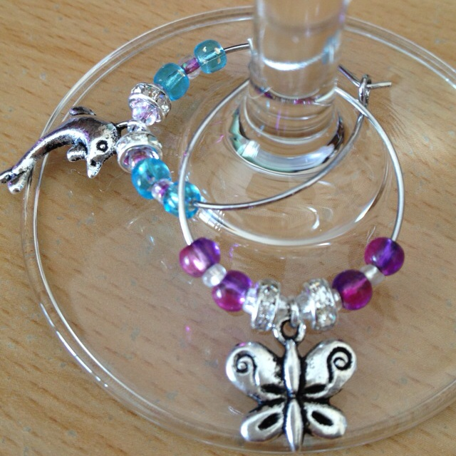 Fancy wine glass charms