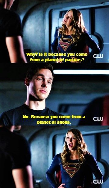 Kara and Mon-El. I love how FUNNY their interactions are. Kara's such a happy kid, but you usually only see her funny side with Alex, and that's not cool. My fave couples will always be the funny/jokey/sarcastic ones.  TV Shows  CW's Supergirl  Supergirl 2x04  #Supergirl funny  Kara x Mon-El  #Karamel  Melissa Benoist  Chris Wood 