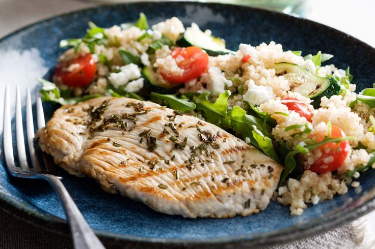 Turkey steaks with quinoa and feta salad