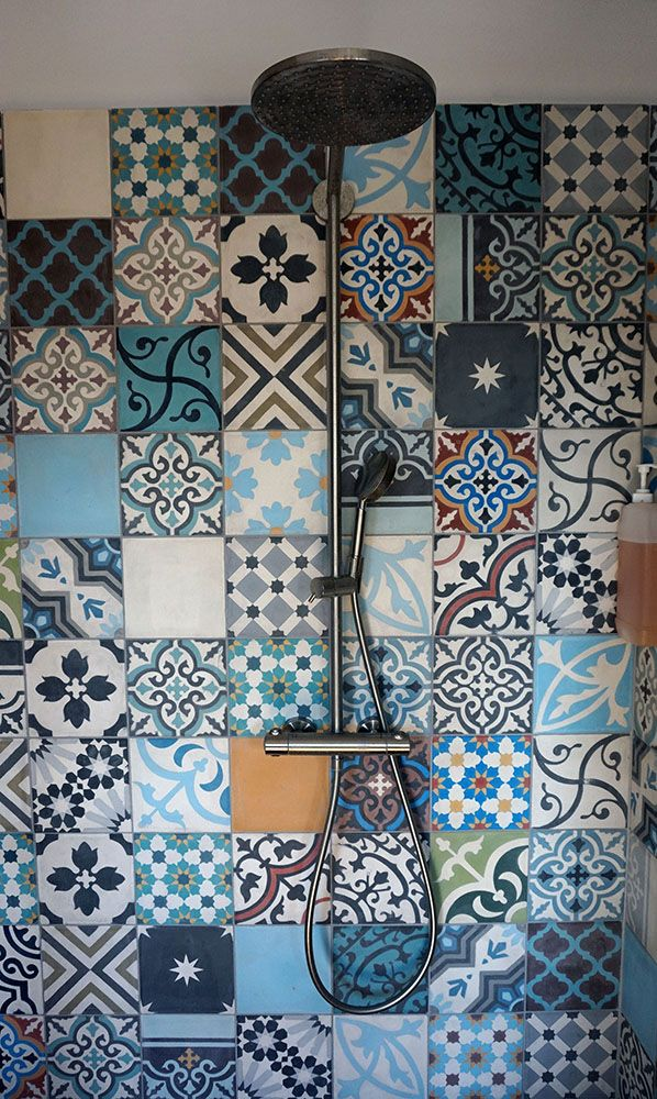 patchwork cement tiles as splashback