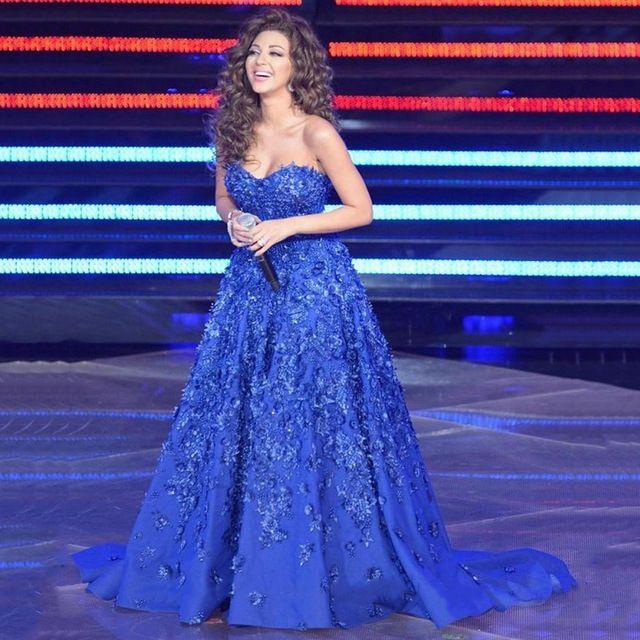 Top Quality 2017 Myriam Fares Celebrity Dresses Royal Blue Ball Gown Sexy Women Evening Dress Gowns Vestidos De Festa Plus Size