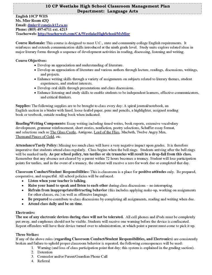 Classroom Management Plan Template Elegant Westlake High School Pla Essay Electronic Devices
