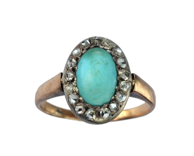 1880's Persian turquoise and diamond ring