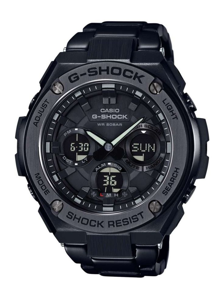 G-Shock Black GSTS110BD-1B. Shock Resistant , 200M Water Resistant , Solar Powered , Double LED light LED light for the face (Full Auto LED Light, selectable illumination duration, Afterglow) LED Backlight for the digital display (Full Auto LED light selectable illumination dur.