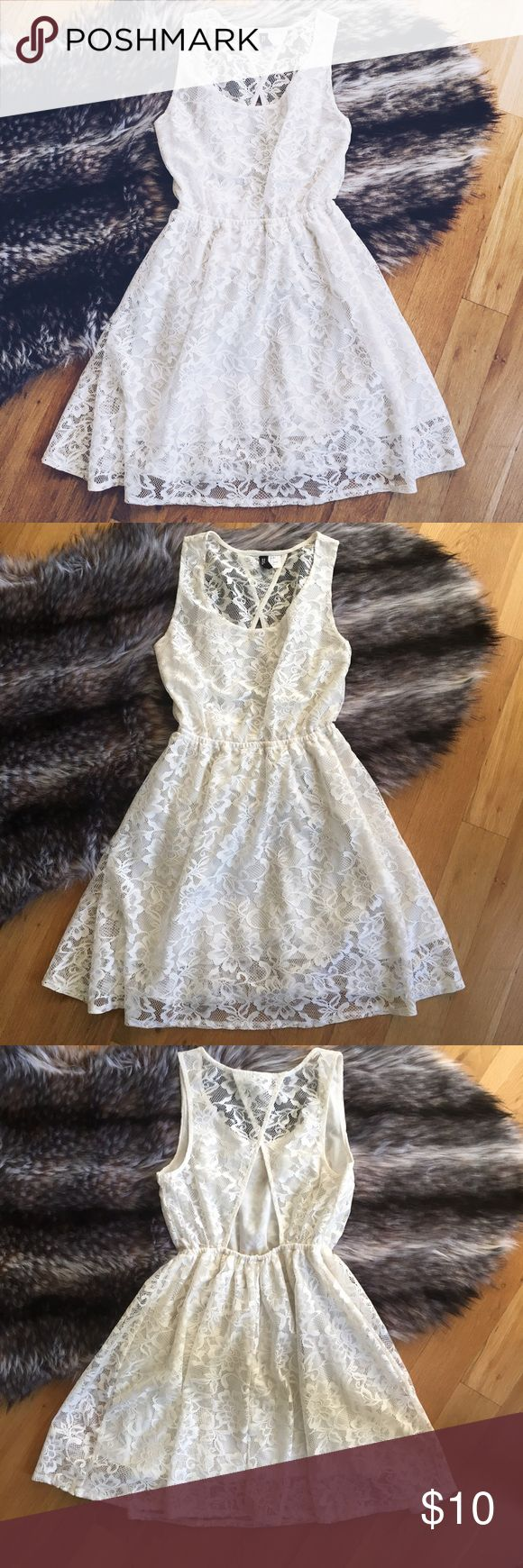 H&M White Lace Mini Dress Gently worn off white lace dress by H&M. In great condition with great lace details. Size 6 Dresses Mini