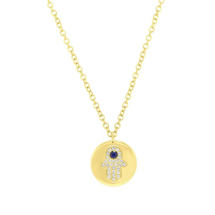Hamsa Disc Necklace