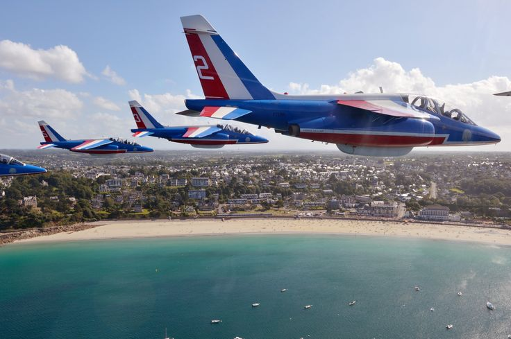 Dassault Alpha Jets of the Patrouille de France in flight over Perros-Guirec, in Brittany, August 2016. (Photo: Patrouille de France)