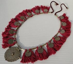 VINTAGE COINS RARE BELLY DANCE BANJARA KUCHI TRIBAL GYPSY TASSEL NECKLACE