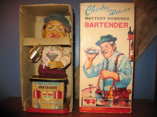 "Vintage Charlie Weaver Bartender Battery Operated Toy  ""SMOKING EARS! With Box""  #Rosco"