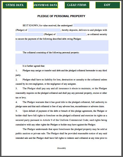 Pledge of Personal Property Contract Template