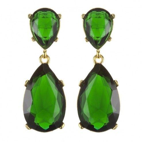 "Kenneth Jay Lane ""Angelina"" Emerald Crystal Earrings"