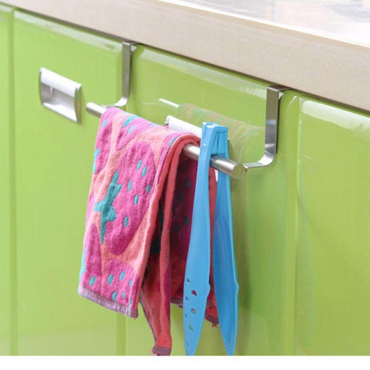 מחזיק מגבת בר נירוסטה מעל את דלת ארון ארון מטבח מדף תליית אביזרי מחזיקי אחסון