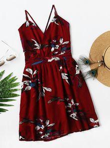Tropical Print Criss Cross Back Dress