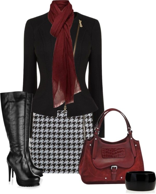 """Houndstooth Skirt"" #winteroutfit"