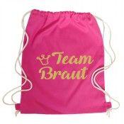 Pinkfarbener JGA-Rucksack mit goldfarbenem Team Braut-Motiv