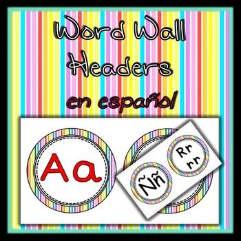 Use these to alphabetically organize your Word Wall vocabulary!Includes: Ch ch, Ll ll,  , and Rr rr***Also available in turquoise and black!***http://www.teacherspayteachers.com/Product/Spanish-Word-Wall-Alphabet-in-Turquoise-1397115***Also available in English!***http://www.teacherspayteachers.com/Product/Word-Wall-Alphabet-Headers-rainbow-1396458Thank you!
