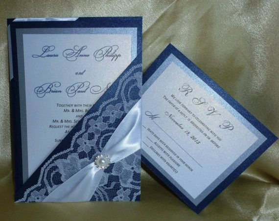 Blue Wedding Invitation: Lace Wedding Invitation,Navy Blue Wedding Invitation