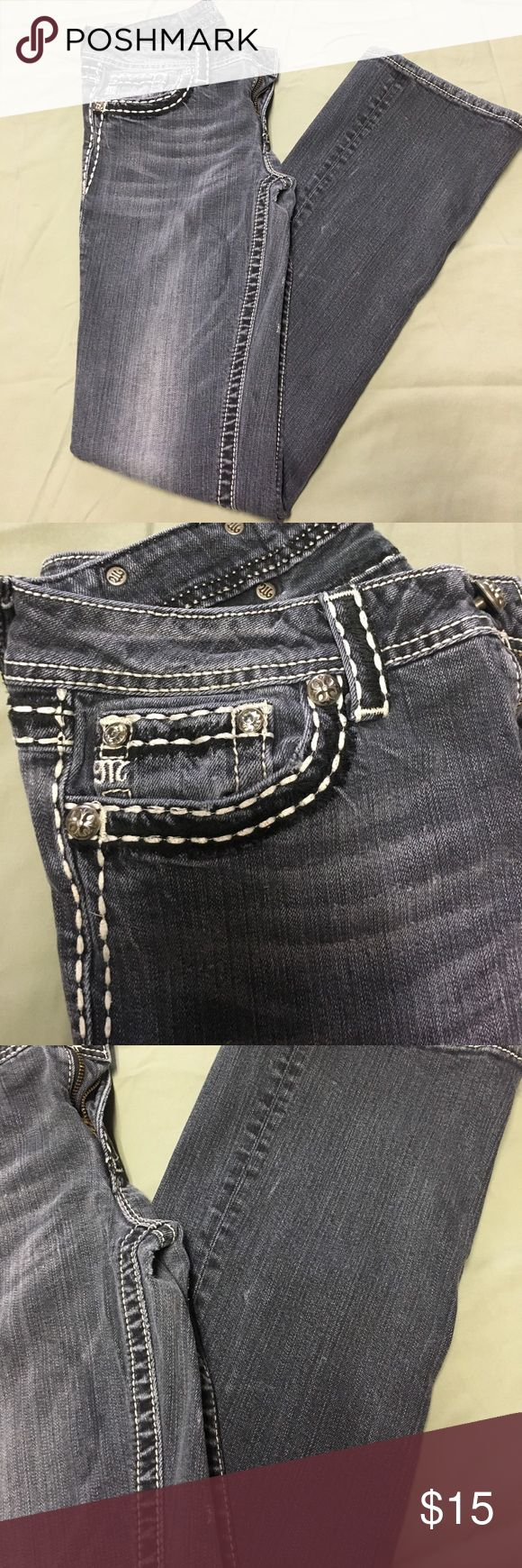 Miss Me - Gray Denim bootcut jeans Worn condition. Some wear and tear. Size 30 (inseam 35) Miss Me Jeans Boot Cut