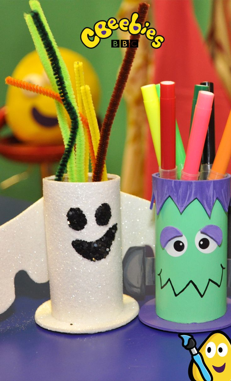 Here's a really quick and easy craft idea for children from Cbeebies' Mister Maker! You can make these spooky pen holders in minutes!