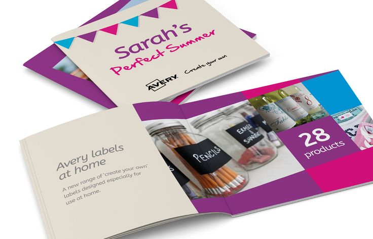 Square brochure with personalisation throughout for Avery UK Create Your Own labels. Designed by Theme.