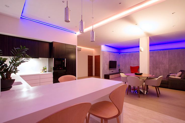 Luxurious Purple Touch from Lighting Installed As Modern Studio Apartment Interior Cove Lamp Idea Among Bright Lamp