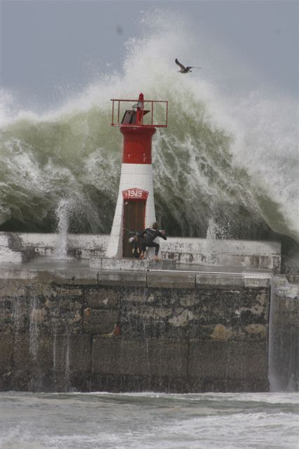 Cape of Storms - The waves crash over the harbour wall at Kalk Bay when the weather gets a bit choppy.