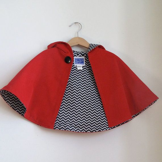 Little Red Riding Hood Cape Toddler or Girls Cape with Chevron Lining - Sizes newborn to 9/10 - cape, cloak, coat, jacket