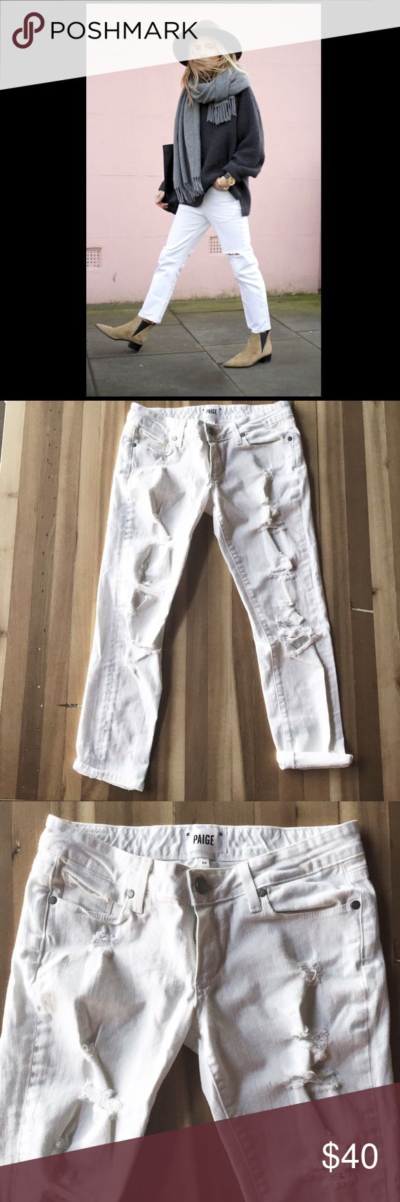 "✖️SALE✖️Paige 'Jimmy Jimmy' Jean Distressed winter white boyfriend denim, measurements: waist across 14"", rise 7.5"", inseam 26"", first pic for styling purposes only Paige Jeans Jeans Boyfriend"