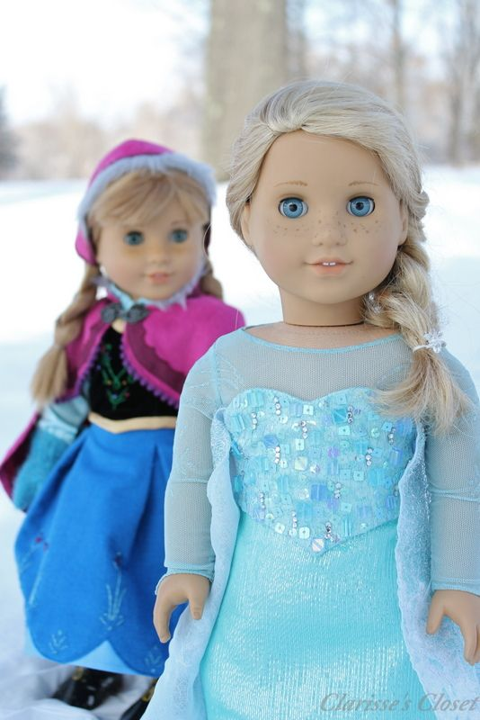 Anna & Elsa by Clarisse's Closet. Disney's Frozen beautiful sets on customized American Girl dolls <3