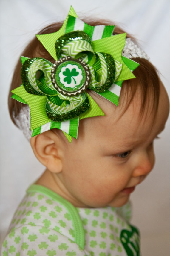 St Patricks Day Hair Bow  St Pattys Day by OurLittleCharmedLife