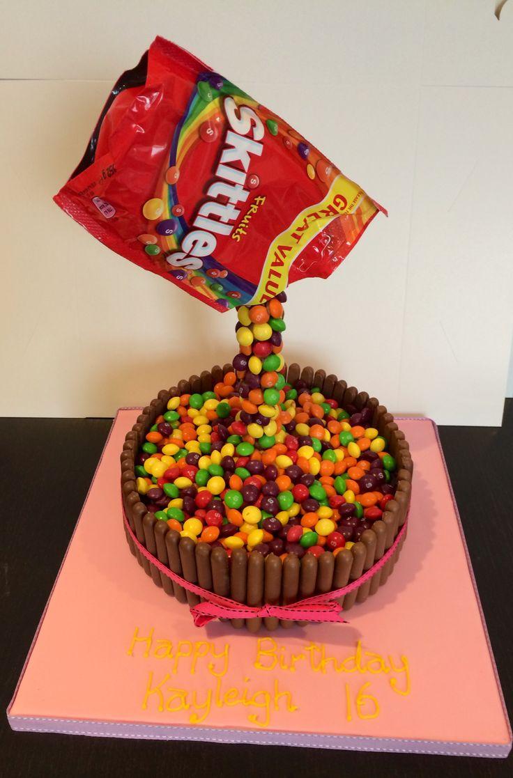 Skittles Gravity Cake Birthday Cakes Pinterest