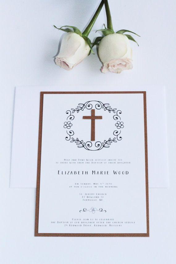 Digital or Printed Boy or Girl Baptism Invitation, First Communion Invitation, Premium Cardboard