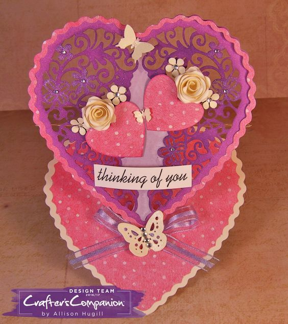 Easel card made using Crafter's Companion Die'sire Create a Card Die Heart Easel Designed by Allison Hugill #crafterscompanion #ccgemini