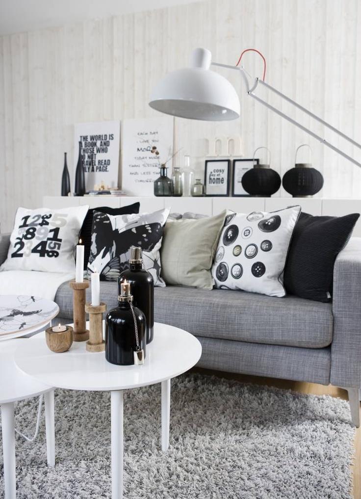 Living room #grey #white #black