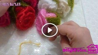 Balon Çubuğundan Örgü Gül Yapılışı Videolu Anlatım