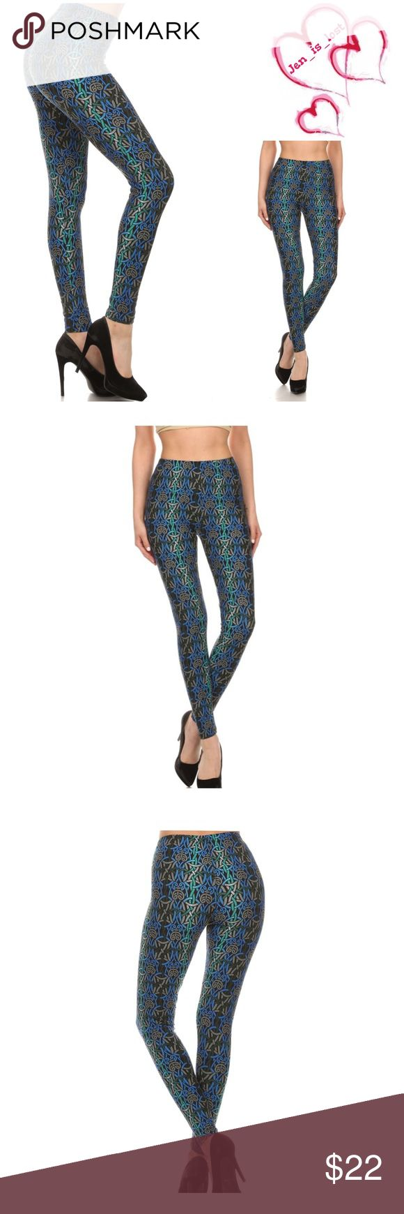 Metallic Printed Leggings Printed metallic looking, high waisted leggings with an elasticized waist band. Content: 92% POLYESTER 8% SPANDEX Pants Leggings