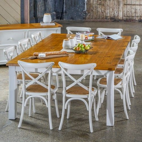 Tuscan 2500 Dining Package with French Cross Chairs (table: 2500W x 1500D x 775H mm; chairs: 460W x 420D x 870H mm) RRP $2,368