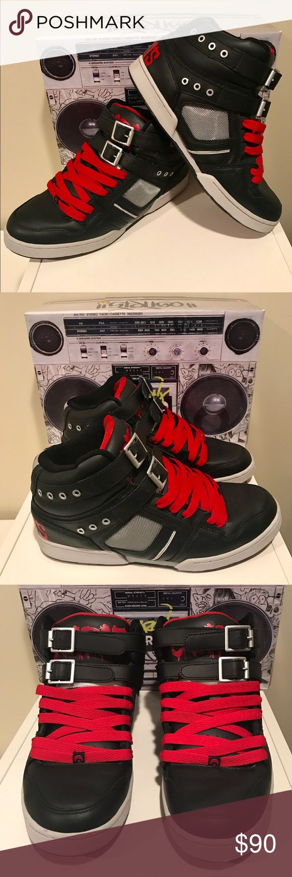 "OSIRIS Bronx ""Bad"" Michael Jackson Shoe These Bronx ""Bad"" shoes are inspired by Michael Jacksons song ""Bad"".  They feature black straps with buckles and silver mesh side panels.  They are a must have for your collection. EUC. Very Rare. Comes in original box. No Trades. Osiris Shoes Sneakers"